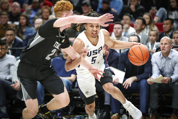 FILE - In this April 12, 2019, file photo, Cole Anthony had a team-best 25 points and eight rebounds to help the USA beat the World 93-87 at the Nike Hoop Summit, in Portland, Oregon. North Carolina freshman guard Cole Anthony is expected to play a major role for the Tar Heels at the point.(Serena Morones/The Oregonian via AP, File)