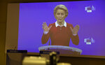 European Commission President Ursula von der Leyen speaks via video conference into a press room at EU headquarters in Brussels, Wednesday, Oct. 28, 2020. The European Commission on Wednesday, is launching an additional set of actions, to help limit the spread of the coronavirus, save lives and strengthen the internal market's resilience. (AP Photo/Virginia Mayo, Pool)