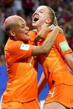 Netherlands' Jackie Groenen, right, is congratulated by teammate Shanice Van De Sanden after scoring during the Women's World Cup semifinal soccer match between the Netherlands and Sweden, at the Stade de Lyon outside Lyon, France, Wednesday, July 3, 2019. (AP Photo/Francisco Seco)