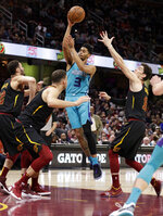 Charlotte Hornets' Jeremy Lamb (3) drives to the basket against the Cleveland Cavaliers in the second half of an NBA basketball game, Tuesday, April 9, 2019, in Cleveland. Charlotte won 124-97. (AP Photo/Tony Dejak)