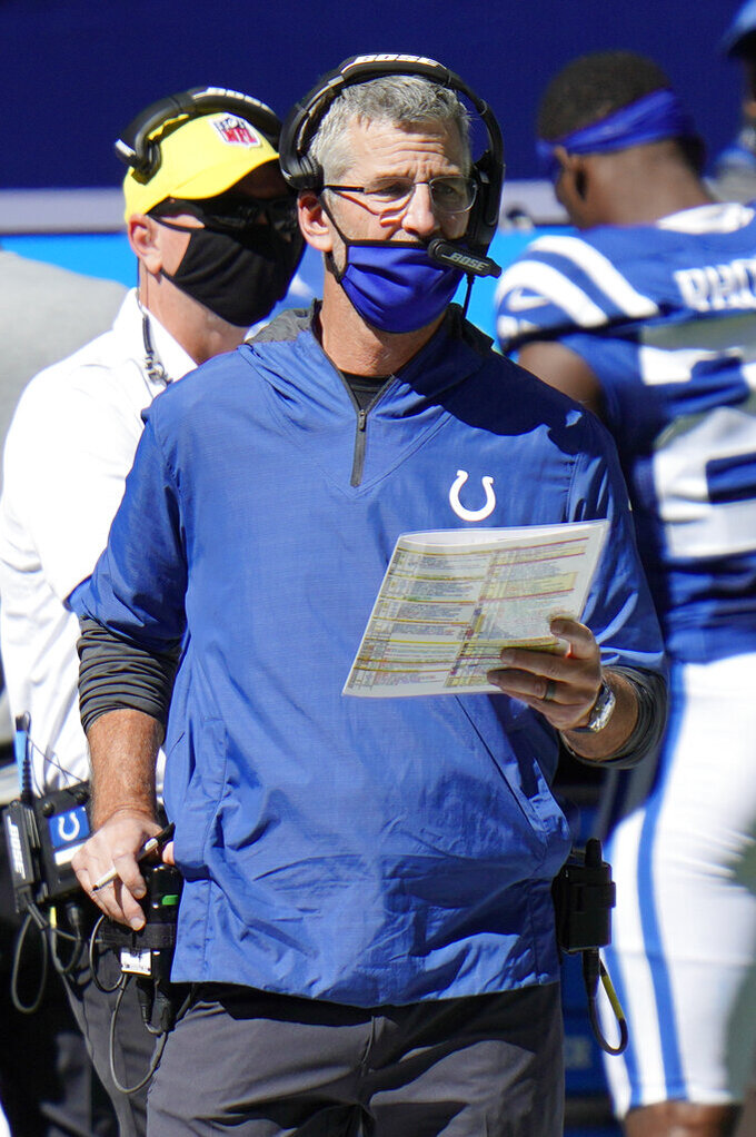 Indianapolis Colts head coach Frank Reich watches during the second half of an NFL football game against the Minnesota Vikings, Sunday, Sept. 20, 2020, in Indianapolis. (AP Photo/AJ Mast)