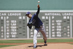 Tampa Bay Rays' Blake Snell delivers a pitch against the Boston Red Sox in the first inning of a baseball game Sunday, June 9, 2019, in Boston. (AP Photo/Steven Senne)