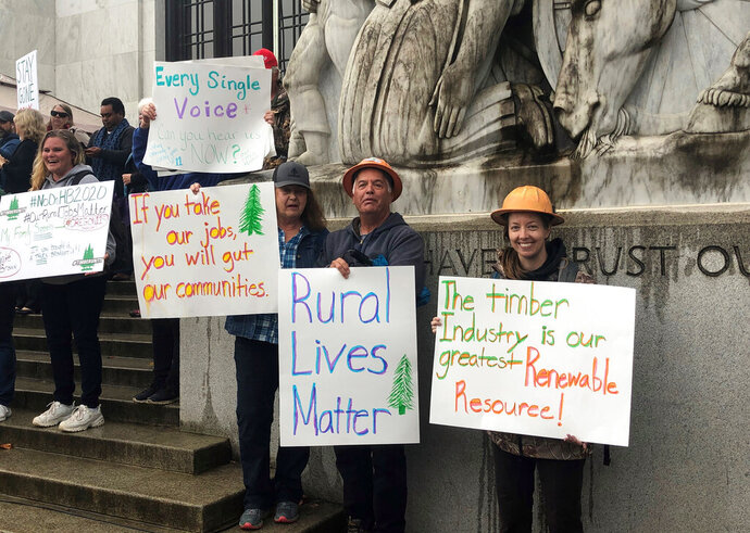 Protesters converge outside the Oregon state Capitol in Salem, Ore. on Thursday, June 27, 2019. Truckers, loggers and farmers say they support the eleven Republican senators who walked out over a week ago to avoid a vote on climate legislation. (AP Photo/Sarah Zimmerman)
