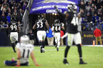 Baltimore Ravens cornerback Marlon Humphrey (44) runs for a touchdown after recovering a fumble by New England Patriots wide receiver Julian Edelman (11) during the second half of an NFL football game, Sunday, Nov. 3, 2019, in Baltimore. (AP Photo/Nick Wass)