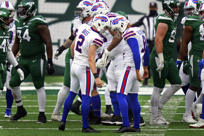 Buffalo Bills kicker Tyler Bass (2), center left, celebrates after his fourth field goal during the second half of an NFL football game against the New York Jets, Sunday, Oct. 25, 2020, in East Rutherford, N.J. (AP Photo/John Minchillo)