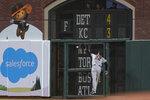 Arizona Diamondbacks right fielder Josh Reddick (22) cannot catch a triple hit by San Francisco Giants' Brandon Belt during the sixth inning of a baseball game in San Francisco, Tuesday, June 15, 2021. (AP Photo/Jeff Chiu)