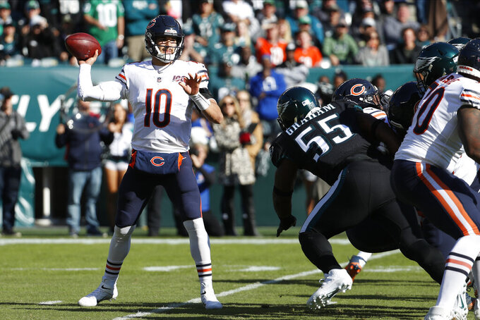 Chicago Bears' Mitchell Trubisky passes during the first half of an NFL football game against the Philadelphia Eagles, Sunday, Nov. 3, 2019, in Philadelphia. (AP Photo/Chris Szagola)