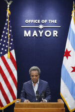 Chicago Mayor Lori Lightfoot holds a press conference at City Hall to announce the firing of police Superintendent Eddie Johnson, on Dec. 2, 2019. (Jose M. Osorio/Chicago Tribune via AP)