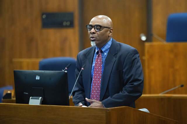 Special Prosecutor Fredrick D. Franklin speaks during a press conference in the Omaha City Council Legislative Chambers of the Omaha/Douglas Civic Center in Omaha on Wednesday, September 23, 2020. (Lily Smith/Omaha World-Herald via AP)