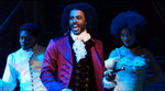 In this image released by Disney Plus, Daveed Diggs portrays Thomas Jefferson in a filmed version of the original Broadway production of