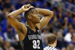 Georgetown guard Kaleb Johnson reacts against Seton Hall during the second half of an NCAA college basketball game, on Saturday, Jan. 13, 2018, in Newark, N.J. Seton Hall won 74-61. (AP Photo/Adam Hunger)