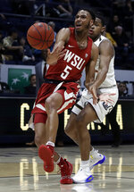 Washington State's Marvin Cannon (5) cannot handle a pass that was overthrown as California's Paris Austin, right, defends in the second half of an NCAA college basketball game Saturday, March 2, 2019, in Berkeley, Calif. (AP Photo/Ben Margot)