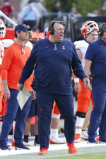 Illinois head coach Bret Bielema reacts during the second quarter of an NCAA college football game against Purdue, Saturday, Sept. 25, 2021, in West Lafayette, Ind. (Nikos Frazier/Journal & Courier via AP)