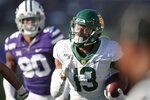Baylor wide receiver R.J. Sneed (13) runs past Kansas State defensive end Bronson Massie (90) during the second half of an NCAA college football game in Manhattan, Kan., Saturday, Oct. 5, 2019. (AP Photo/Orlin Wagner)
