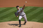 San Francisco Giants' Tyler Anderson pitches against the Oakland Athletics during the first inning of a baseball game in Oakland, Calif., Sunday, Sept. 20, 2020. (AP Photo/Jeff Chiu)