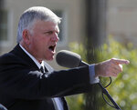 FILE - In this Oct. 12, 2016 file photo, Franklin Graham, president and CEO of the Billy Graham Evangelistic Association, addresses a crowd gathered in front of the Virginia State Capitol with his