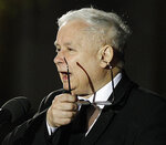 FILE-In this photo taken April 10, 2018 in Warsaw, Poland, the leader of the ruling party Jaroslaw Kaczynski speaks in front of the Presidential Palace during ceremonies marking eighth years since his twin brother, then-President Lech Kaczynski, and 95 others were killed in a plane crash. Kaczynski, whose public image is of restraint and honesty, is at the center of a scandal involving him negotiating a multi-million euro construction, even though the law bans political parties from doing business. (AP Photo/Czarek Sokolowski)