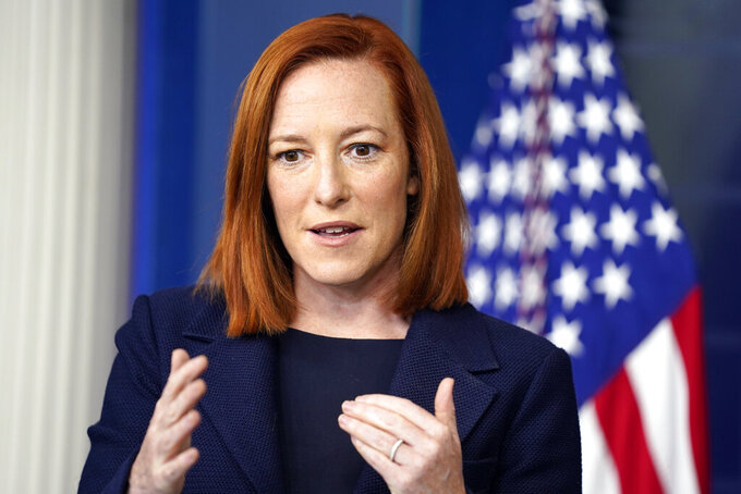 White House press secretary Jen Psaki speaks during a briefing at the White House, Monday, March 29, 2021, in Washington. (AP Photo/Evan Vucci)