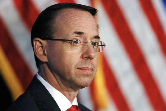 FILE - In this June 20, 2017, file photo, Deputy Attorney General Rod Rosenstein listens during the Justice Department's National Summit on Crime Reduction and Public Safety in Bethesda, Md. Former Deputy Attorney General Rosenstein told the FBI he was