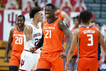 Illinois' Kofi Cockburn (21) smiles after a dunk during overtime in the team's NCAA college basketball game against Indiana, Tuesday, Feb. 2, 2021, in Bloomington, Ind. Illinois won 75-71. (AP Photo/Darron Cummings)