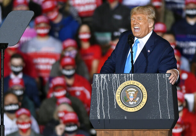 President Donald Trump speaks during a campaign rally at Harrisburg International Airport, Saturday, Sept. 26, 2020, in Middletown, Pa. (AP Photo/Steve Ruark)