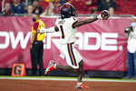 Oregon State wide receiver Tyjon Lindsey (1) scores a touchdown during the second half of an NCAA college football game against Southern California Saturday, Sept. 25, 2021, in Los Angeles. (AP Photo/Marcio Jose Sanchez)