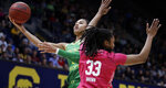Oregon's Satou Sabally, left, shoots past California's Jaelyn Brown (33) in the first half of an NCAA college basketball game Friday, Feb. 21, 2020, in Berkeley, Calif. (AP Photo/Ben Margot)