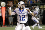 Kentucky quarterback Sawyer Smith throws against Vanderbilt in the second half of an NCAA college football game Saturday, Nov. 16, 2019, in Nashville, Tenn. (AP Photo/Mark Humphrey)