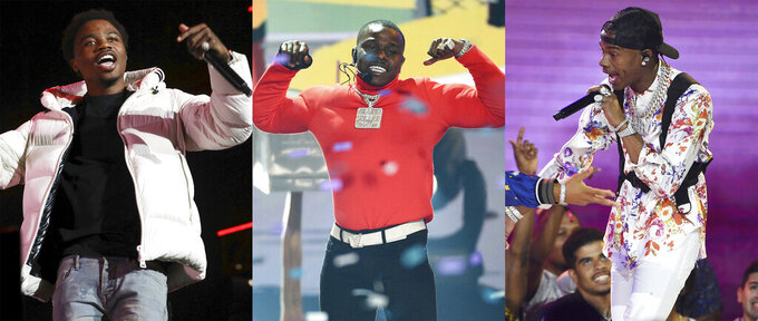 This combination photo shows, Roddy Ricch, from left, DaBaby and Lil Baby, who have blazed the Billboard charts, but Grammy voters gave the young hip-hop stars the cold shoulder in the best rap album category, instead, surprisingly nominating the genre's more matured voices like Nas and Jay Electronica. (AP Photo)