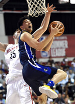 Dallas Mavericks' Yudai Baba, right, shoots against Houston Rockets' Isaiah Hartenstein (55) during the first half of an NBA summer league basketball game Saturday, July 6, 2019, in Las Vegas. (AP Photo/David Becker)
