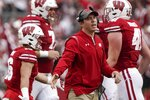 Wisconsin defensive coordinator Jim Leonhard reacts to a stop during the first half of an NCAA college football game against Penn State Saturday, Sept. 4, 2021, in Madison, Wis. (AP Photo/Morry Gash)