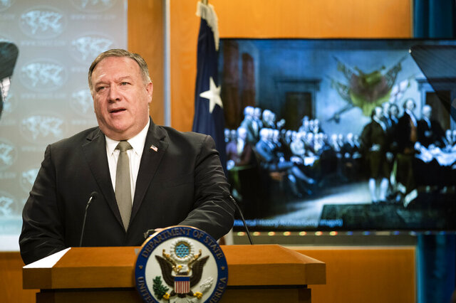 Secretary of State Mike Pompeo, speaks during a news conference at the State Department, Wednesday, July 1, 2020, in Washington. (AP Photo/Manuel Balce Ceneta, Pool)