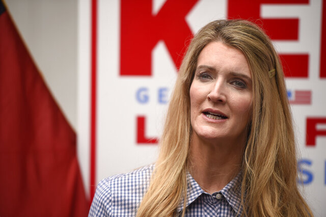 Sen. Kelly Loeffler, R-Ga., speaks during a campaign event at the Recteq facility in Evans, Ga., Monday, Oct. 12, 2020. (Michael Holahan/The Augusta Chronicle via AP)