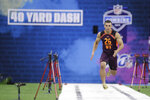 Massachusetts wide receiver Andy Isabella runs the 40-yard dash during the NFL football scouting combine, Saturday, March 2, 2019, in Indianapolis. (AP Photo/Darron Cummings)