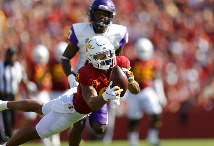 Iowa State wide receiver Xavier Hutchinson (8) pulls in a reception for a first down during the first half of an NCAA college football game against Northern Iowa, Saturday, Sept. 4, 2021, in Ames, Iowa. (AP Photo/Matthew Putney)