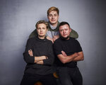 FILE - In this Jan. 26, 2020 file photo, Olga Baranova, from left, Maxim Lapunov, and David Isteev pose for a portrait to promote the film