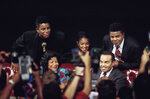FILE - In this Aug. 30, 1993 file photo, members of the Jackson family, from left, Jermaine Jackson, mother Katherine Jackson, Rebbie Jackson, Joe Jackson, foreground right, and Tito Jackson appear at a press conference in Los Angeles to promote their benefit concert.  Joe Jackson, the patriarch of America's most famous musical clan has died, says a family source on Wednesday, June 27. He was 89. (AP Photo/Eric Draper, File)