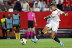 "FILE - In this Oct. 3, 2019, file photo, Sevilla's Javier Hernandez shoots, but fails to score, during a Europa League group A soccer match against APOEL Nicosia at the Estadio Ramon Sanchez-Pizjuan stadium in Seville, Spain. The Los Angeles Galaxy have signed Javier ""Chicharito"" Hernández to a Designated Player contract, the MLS soccer club announced Tuesday, Jan. 21, 2020. (AP Photo/Miguel Morenatti, File)"