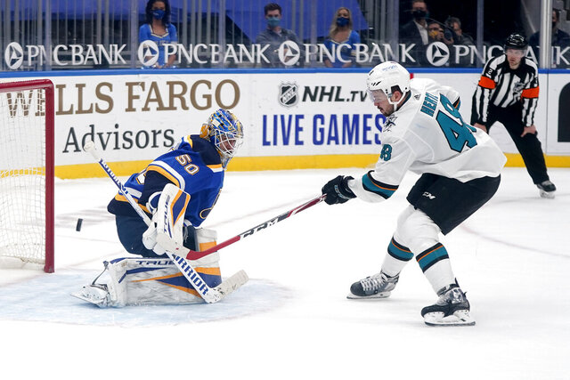 San Jose Sharks' Tomas Hertl, right, scores the game winning goal past St. Louis Blues goaltender Jordan Binnington during a shootout of an NHL hockey game Wednesday, Jan. 20, 2021, in St. Louis. (AP Photo/Jeff Roberson)