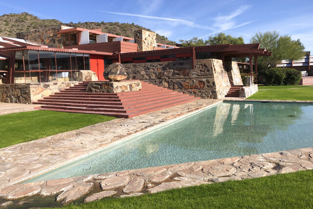 In this photo taken Nov. 23, 2018, is Frank Lloyd Wright's Taliesin West in Scottsdale, Ariz. The architecture school that architect Frank Lloyd Wright started nearly 90 years ago is closing. School officials announced Tuesday, Jan. 28, 2020, that the School of Architecture at Taliesin, which encompasses Wright properties in Wisconsin and Arizona, will shutter in June. (AP Photo/Frank Eltman)
