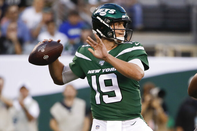 FILE - In this Aug. 29, 2019 file photo, New York Jets' Trevor Siemian (19) throws a pass during the first half of a preseason NFL football game against the Philadelphia Eagles in East Rutherford, N.J. While starting quarterback Sam Darnold recovers from mononucleosis, it will be Siemian's show as the New York Jets take on Baker Mayfield and the Cleveland Browns on Monday night, Sept. 16.  (AP Photo/Matt Rourke, File)