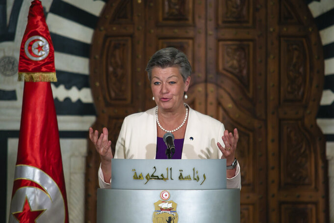 European Commissioner for Home Affairs Ylva Johansson delivers her speech in Tunis, Thursday, May 20, 2021. Italy's Interior Minister Luciana Lamorgese and European Commissioner for Home Affairs Ylva Johansson are visiting Tunisia in the hope of striking a deal to reduce migrant sea-crossings. (AP Photo/Hassene Dridi)