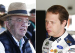 FILE - At left, in a March 8, 2020, file photo, car owner Jack Roush is shown in the garage area prior to a NASCAR Cup Series auto race at Phoenix Raceway in Avondale, Ariz. At right, in a June 7, 2019, file photo, Brad Keselowski prepares to practice for a NASCAR cup series race at Michigan International Speedway in Brooklyn, Mich.  Ford and Chevrolet are among the American automakers who have stepped in to build personal protective equipment for health care workers battling the new coronavirus. Now NASCAR, driver Brad Keselowski and Roush Fenway Racing have joined the effort, using their idled equipment and technology to produce face shields and other needed PPE items.(AP Photo/File)
