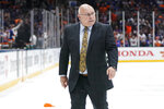 New York Islanders coach Barry Trotz leaves the ice after Game 6 of the team's NHL hockey second-round playoff series against the Boston Bruins, Wednesday, June 9, 2021, in Uniondale, N.Y. The Islanders won 6-2. (AP Photo/Frank Franklin II)