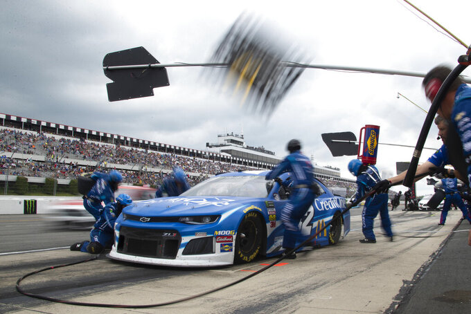 Kyle Larson pits during a NASCAR Cup Series auto race at Pocono Raceway, Sunday, June 2, 2019, in Long Pond, Pa. (AP Photo/Matt Slocum)