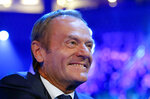 President of the European Council Donald Tusk smiles during the European Peoples Party (EPP) congress in Zagreb, Croatia, Wednesday, Nov. 20, 2019. Tusk was in Zagreb, the Croatian capital, for a meeting of the European People's Party, the main center-right bloc in the European Parliament.(AP Photo/Darko Vojinovic)