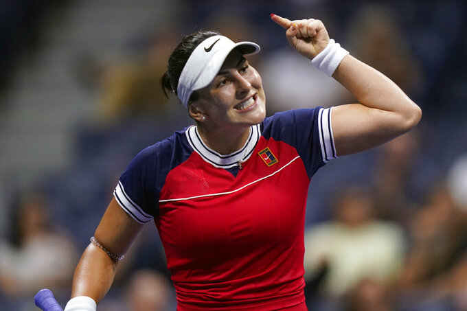 Bianca Andreescu, of Canada, reacts between points during the first round of the US Open tennis championships, Tuesday, Aug. 31, 2021, in New York. (AP Photo/Frank Franklin II)