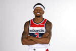 Washington Wizards' Bradley Beal poses for a portrait during an NBA basketball media day, Monday, Sept. 30, 2019, in Washington. (AP Photo/Nick Wass)