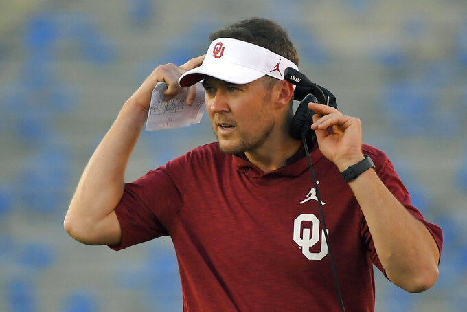 Oklahoma coach Lincoln Riley stands on the sideline during the first half of the team's NCAA college football game against UCLA Saturday, Sept. 14, 2019, in Pasadena, Calif. (AP Photo/Mark J. Terrill)