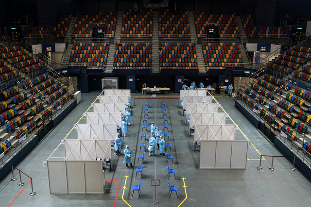 The makeshift testing site is seen at the Queen Elizabeth Stadium in Hong Kong Tuesday, Sept. 1, 2020. Hong Kong began a voluntary mass-testing program for coronavirus Tuesday as part of a strategy to break the chain of transmission in the city's third outbreak of the disease. (Anthony Kwan /Pool Photo via AP)